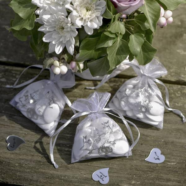 6 Organzasäckchen mit Taubenmotiv zur Hochzeit