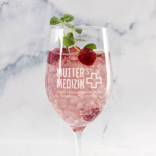 Weinglas zum Muttertag - Mutter's Medizin