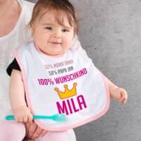 Lätzchen für Mädchen - 100% Wunschkind mit Namen der Eltern und des Kindes