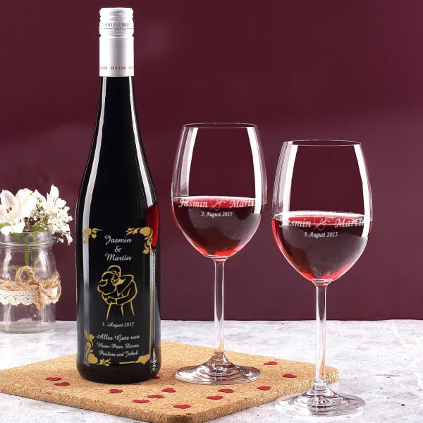 Weinset aus Flasche und Gläsern mit Gravur zur Hochzeit in gold und silber