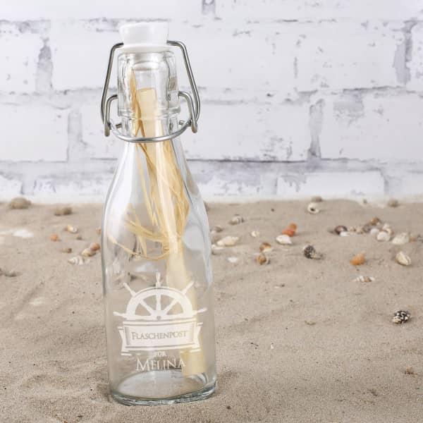 Ausgefallenkleineaufmerksamkeiten - Kleine personalisierte Flaschenpost mit Steuerrad - Onlineshop Geschenke online.de