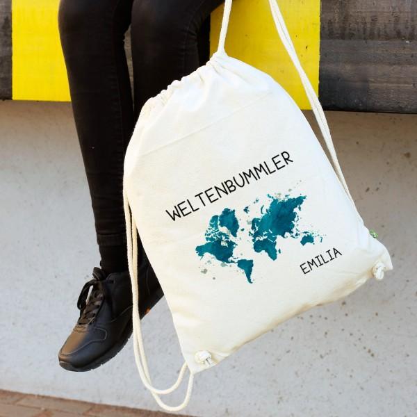 Sportbeutel Rucksack für Weltenbummler mit Wunschnamen