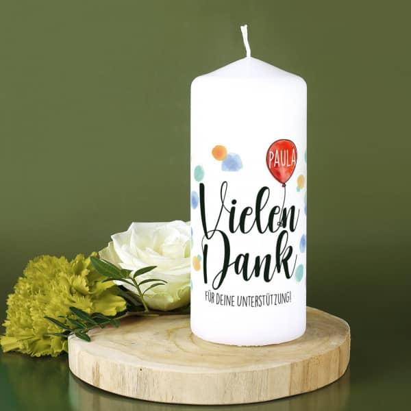 Danke - Kerze mit Name und persönlichem Text