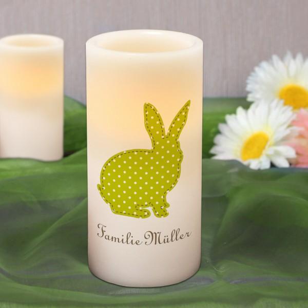 Osterkerze LED Echtwachskerze mit Hase und Wunschtext