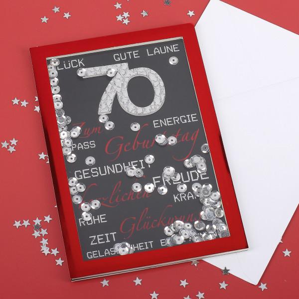 Konfetti-Schüttel-Karte in rot zum 70. Geburtstag