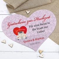 Großes Herz-Puzzle als Gutschein zur Hochzeit