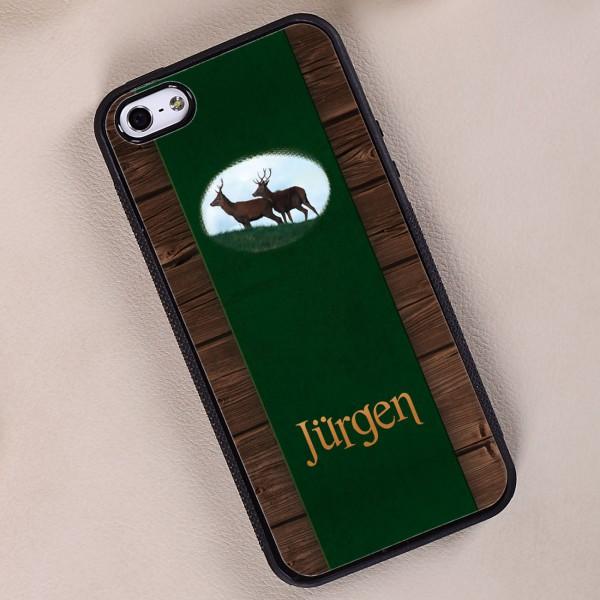 schwarze Handyhülle iPhone 5(s) mit Jagdmotiv