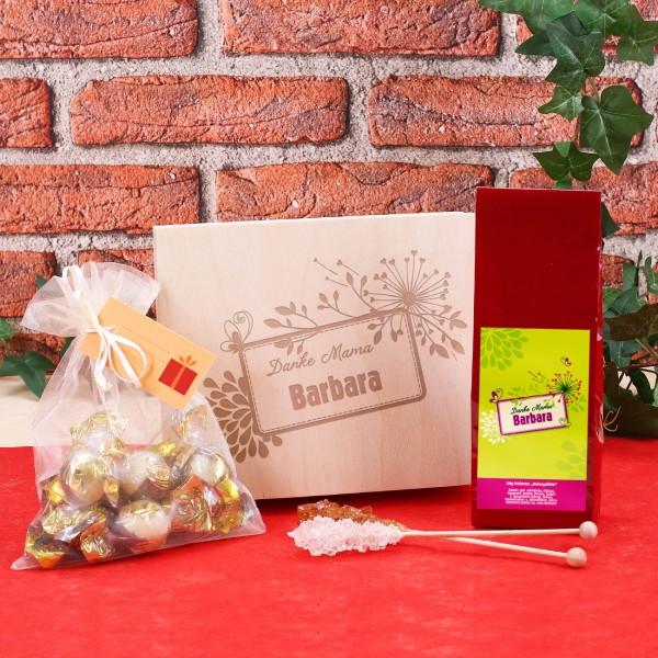 Geschenkset komplett mit Holzbox, Tee, Zucker und Schokolade