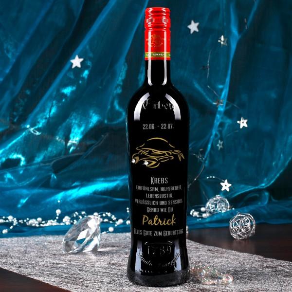 Gravierte Weinflasche mit Sternzeichen - Krebs