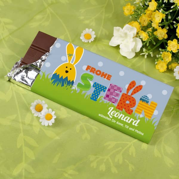 100g Schokolade Frohe Ostern mit Wunschname
