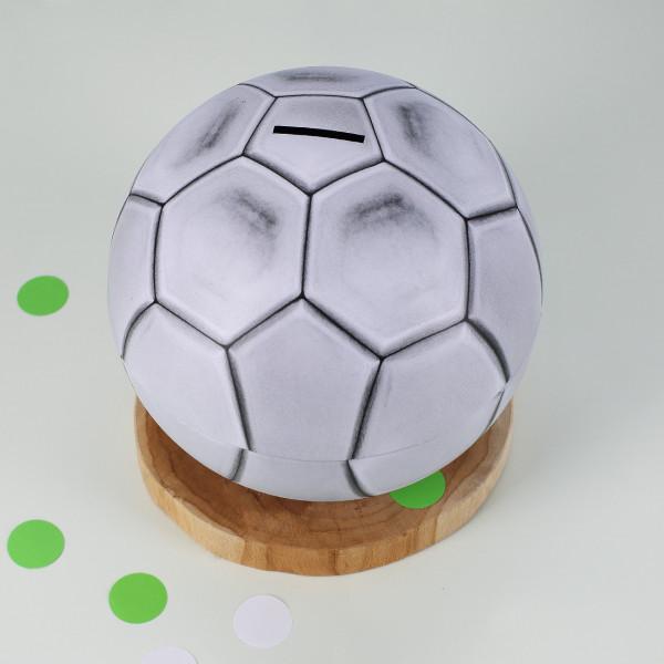 Spardose in Fußballform aus Metall