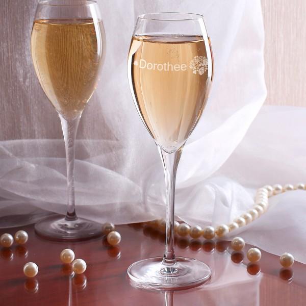 Graviertes Champagnerglas mit Wunschname und Rosen