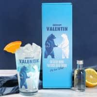 Absolut Vodka Set mit bedrucktem Glas und einer Flasche Vodka in persönlicher Geschenkbox