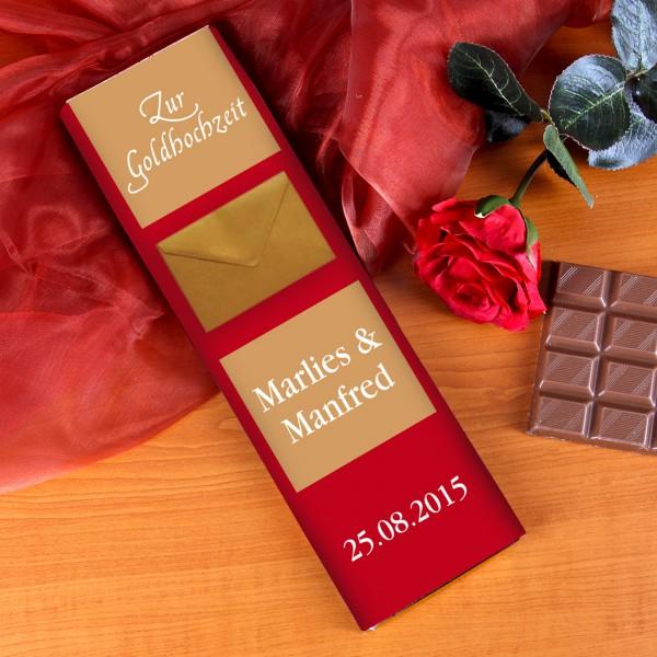 Schokolade zur Goldhochzeit mit Personalisierung und Briefumschlag