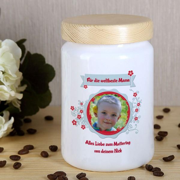 Keramikdose mit Foto und Wunschtext