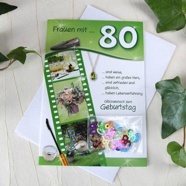 Karte mit Tischkonfetti zum 80. Geburtstag