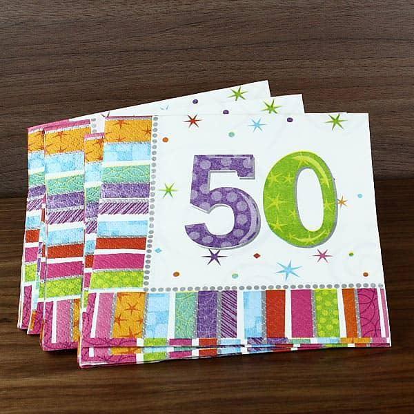 Servietten zum 50. Geburtstag radiant