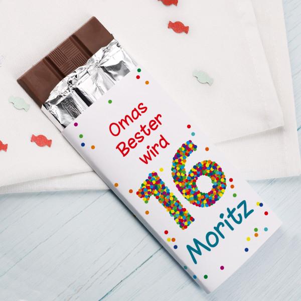 Schokolade zum 16. Geburtstag mit Wunschtext, Name und bunter Konfetti Zahl
