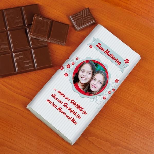 Foto - Schokolade mit Blüten und Wunschtext