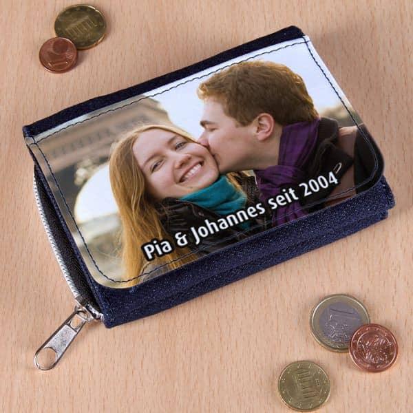 Geldbörse mit Foto und Text