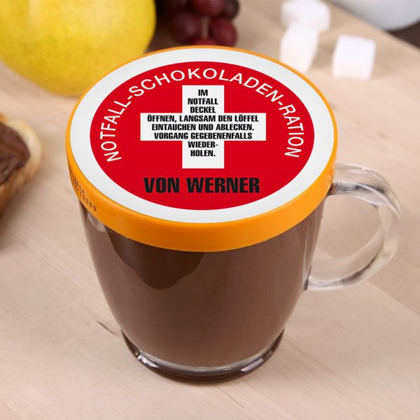 Notfall-Schokoladen-Ration mit Namen