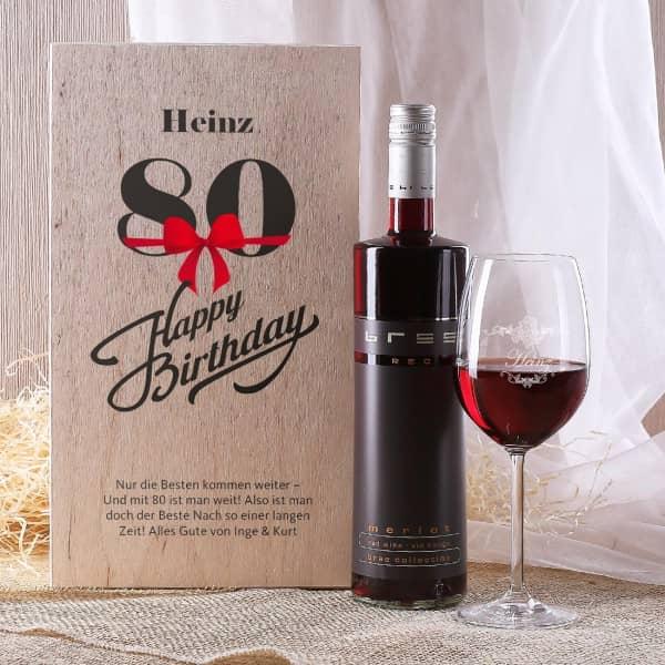 Weinset in Holzbox zum 80. Geburtstag