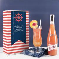 Maritimes Geschenkset mit Bellini und Cocktailglas