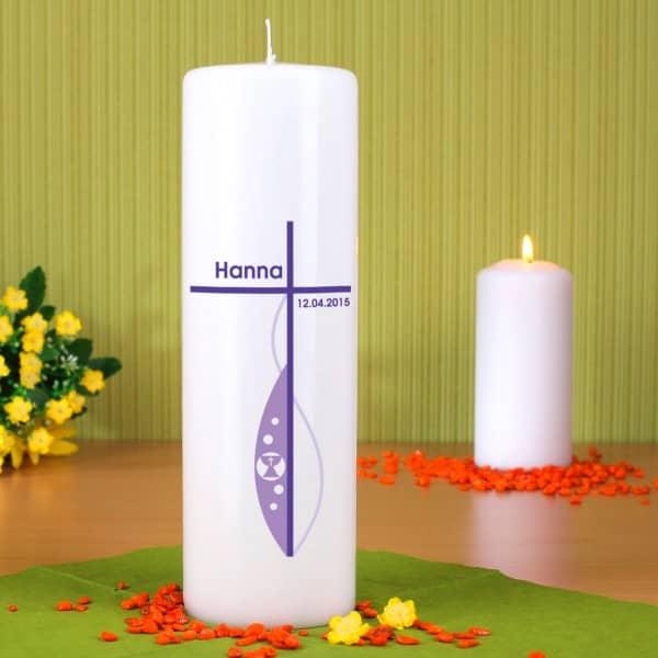 Kommunionkerze modern in lila mit Namen