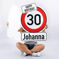 XXL Karte zum Geburtstag als Verkehrszeichen mit Name und Alter