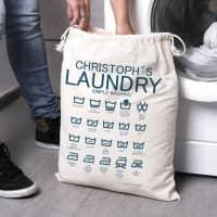 Wäschesack mit Waschsymbolen und Ihrem Wunschnamen