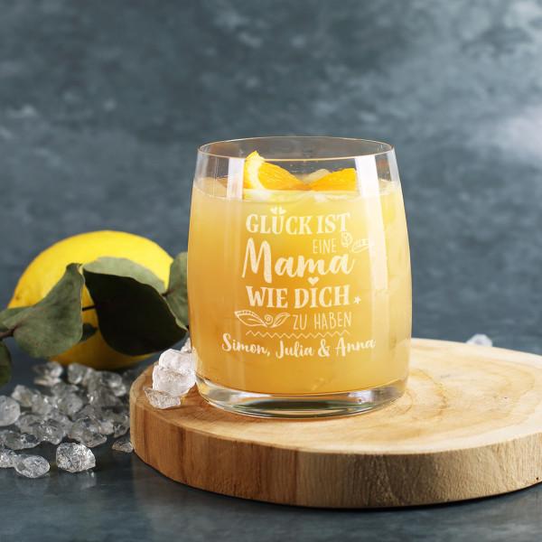 Glück ist... - Graviertes Trinkglas zum Muttertag mit Text