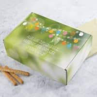 Grüner Geschenkkarton zum Geburtstag mit Wunschtext