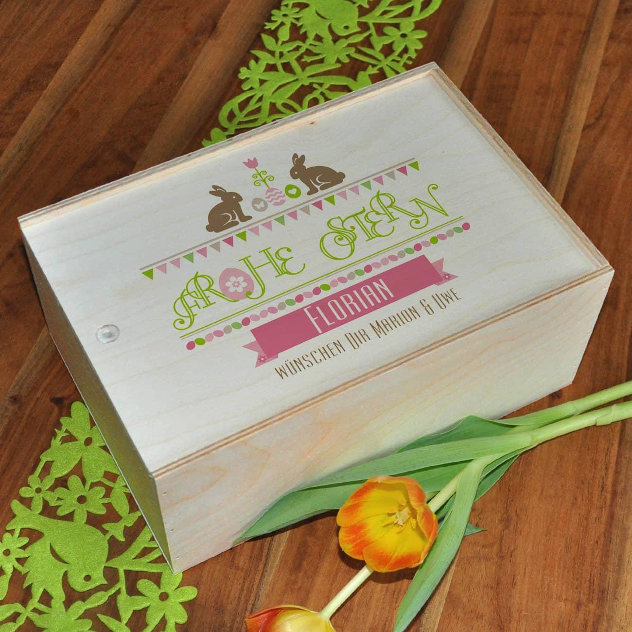 bedruckte holzbox als geschenk verpackung zu ostern geschenke. Black Bedroom Furniture Sets. Home Design Ideas