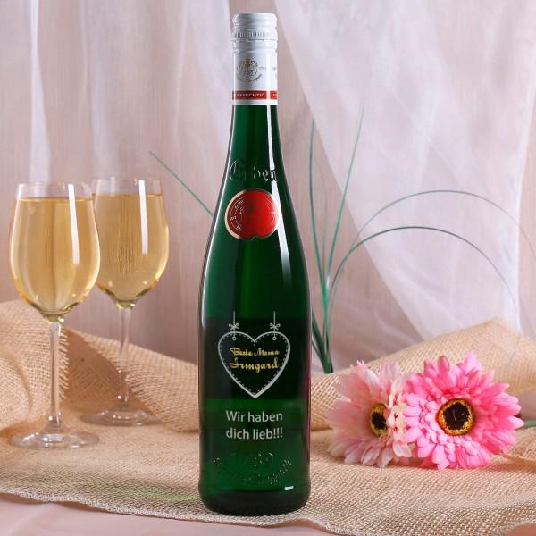 Weinflasche zum Muttertag mit Herz