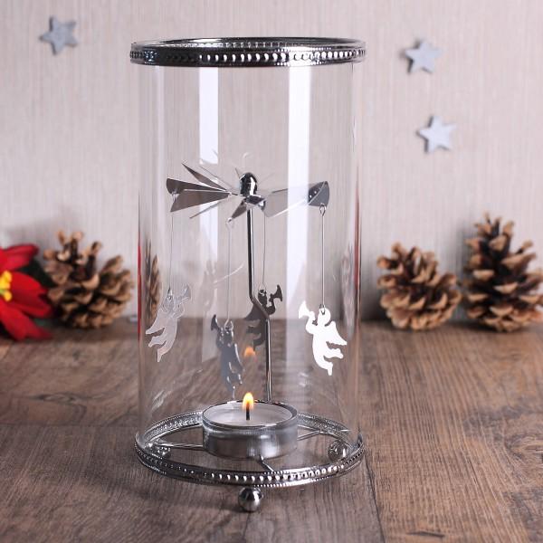 Glas - Windlicht mit Engeln