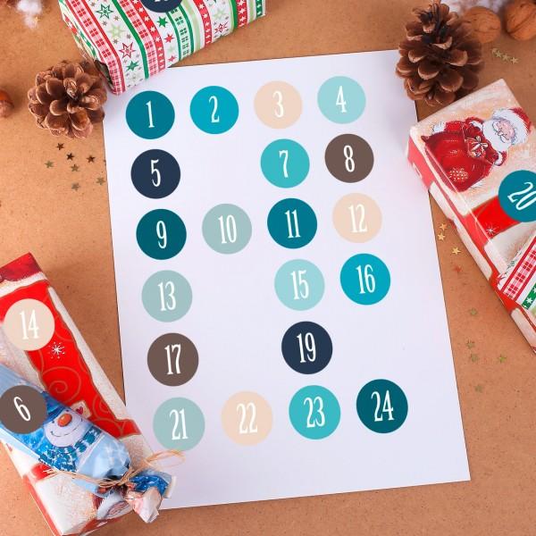 24 Aufkleber für DIY Adventskalender