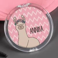Lama-Taschenspiegel mit Name