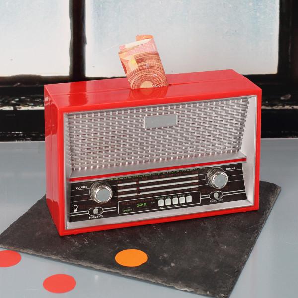 Kunststoff-Spardose als Retro-Radio