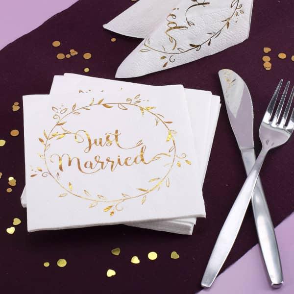 Servietten zur Hochzeit mit Gold-Metallic-Aufdruck