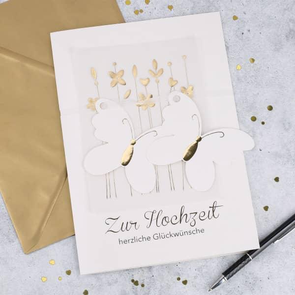 Glückwunschkarte A4 zur Hochzeit - Schmetterlinge