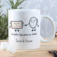 Süße Pärchen Tasse mit Topf und Deckel Motiv und Ihren Namen