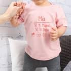 T-Shirt mit Baby-Waschanweisung und Namensaufdruck