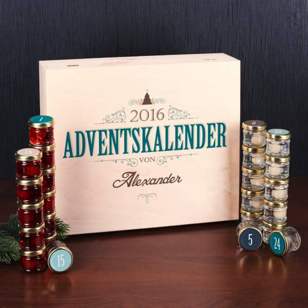 Adventskalender mit 24 Einkochglas Schnäpsen in persönlicher Holzbox