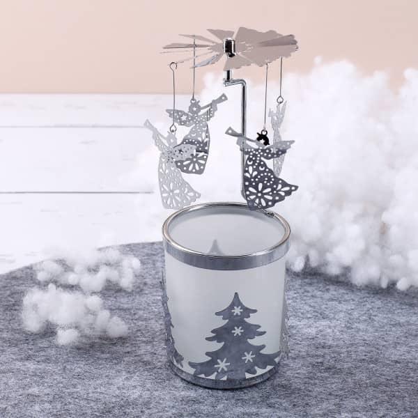 Nützlichdekoration - Rotierender Teelichthalter Engel in Silber - Onlineshop Geschenke online.de