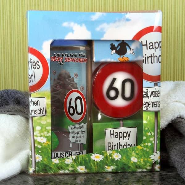lustiges Geschenkset Badset Verkehrszeichen zum 60. Geburtstag