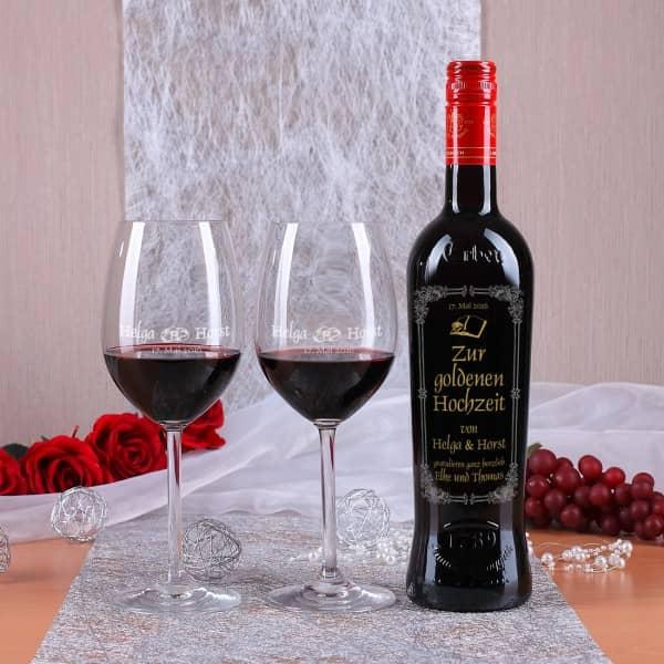 Personalisiertes Weinset mit Verzierungen zur Goldenen Hochzeit