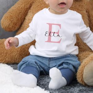 Babypullover mit Initial und Name