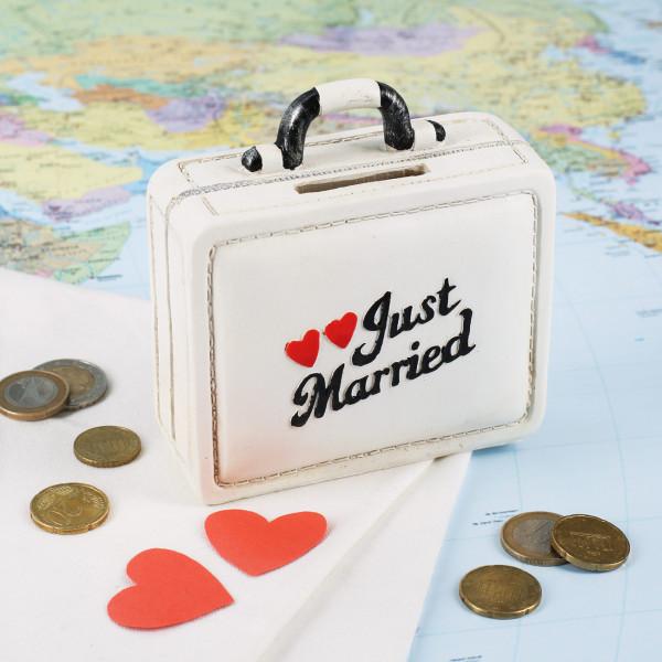 Spardose Koffer zur Hochzeit Just Married