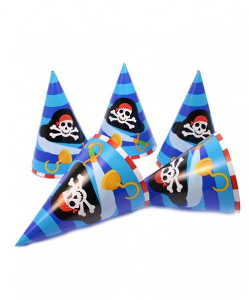 Partyhüte 8 x Spaß für Piraten (blau)