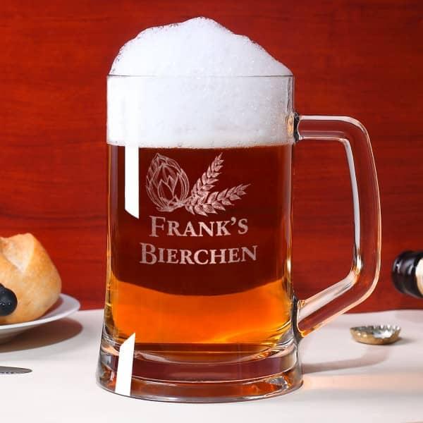 Bierseidel mit Wunschnamen als Gravur
